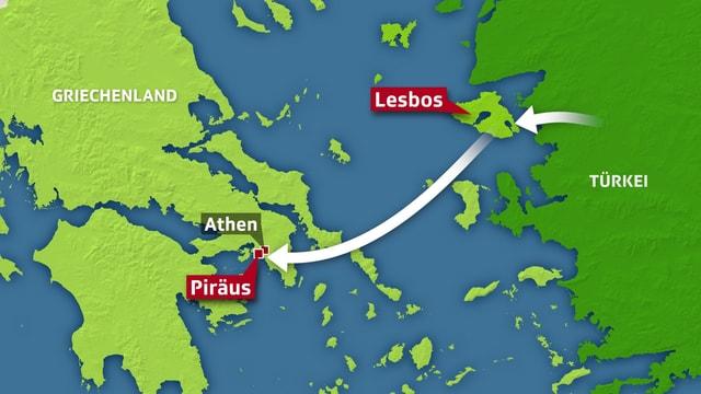 Karte der Reiseroute über Lesbos und Piräus