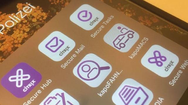 Handybildschirm mit violetten Polizei-Apps