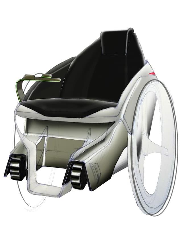 Der Rollstuhl des Studententeams in einer Skizze aus der Entwurfsphase.