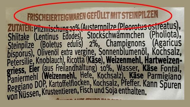 Verpackung mit Hinweis «Frischeierteigwaren gefüllt mit Steinpilzen».
