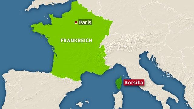 Karte mit dem Italienischen Stiefel und Frankreich.