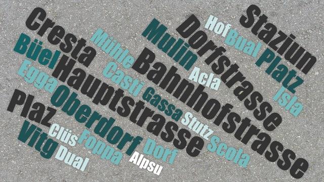 «Bahnhofstrasse» datti 30 giadas en il Grischun. «Principala» datti 25 giadas, «Prinzipala» mo ina giada ;)