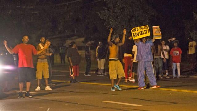 Demonstranten stehen auf der Strasse und halten Plakate in die Höhe.