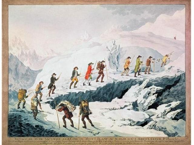 Zeichnung eines Bergaufstiegs..