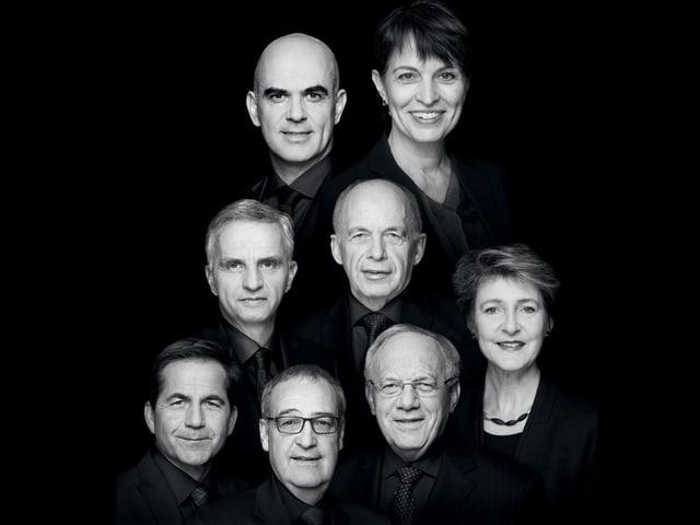 Kopfe der sieben Bundesräte und -rätinnen sowie dem Bundeskanzler