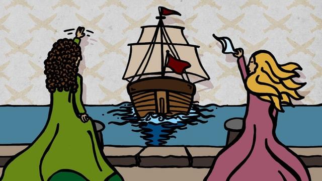 Die Zeichnung zeigt ein davonsegelndes Schiff, die Frauen winken am Quai.