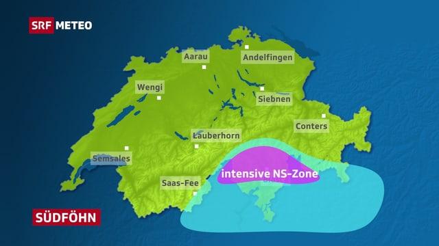 Schweizer Karte für Südföhn. Die stärksten Niederschläge gibt es beim Südföhn im Nordtessin, Misox und im Bergell.