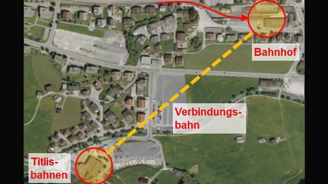 Karte mit der geplanten Linienführung der Gondelbahn.
