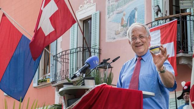 Bundesrat Johann Schneider-Ammann bei seiner letztjährigen 1.-August-Rede in Melide.