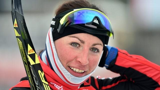 La passlunghista polacca Justina Kowalczyk en montura da sport.