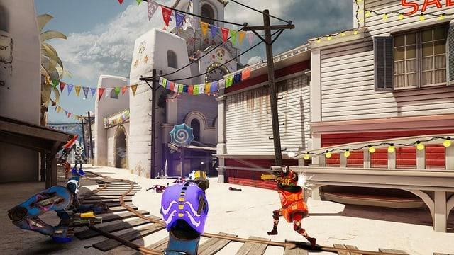 Ausschnitt von Computergame - Strasse mit Roboterfiguren