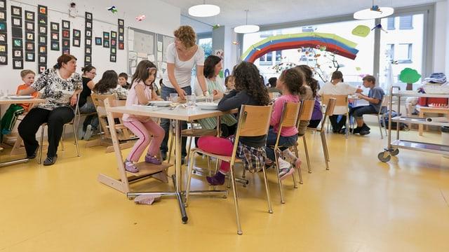 Kinderhort in Zürich mit Kindern und Betreuerinnen.