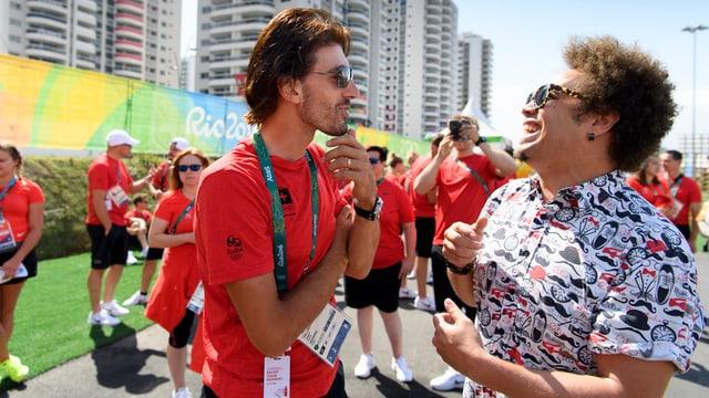 Fabian Cancellara mit Marc Sway während den Olympischen Spielen in Brasilien, 2016.