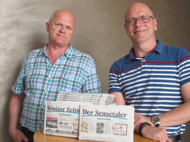 Besitzer Bruno Grütter und Redaktionsleiter Martin Hasler: «Die Zeitung schreibt schwarze Zahlen.»