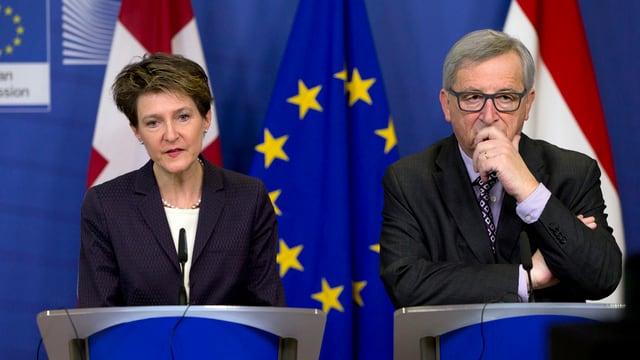Simonetta Sommaruga, presidenta da la Confederaziun e Jean-Claude Juncker, president da la cumissiun da l'UE.
