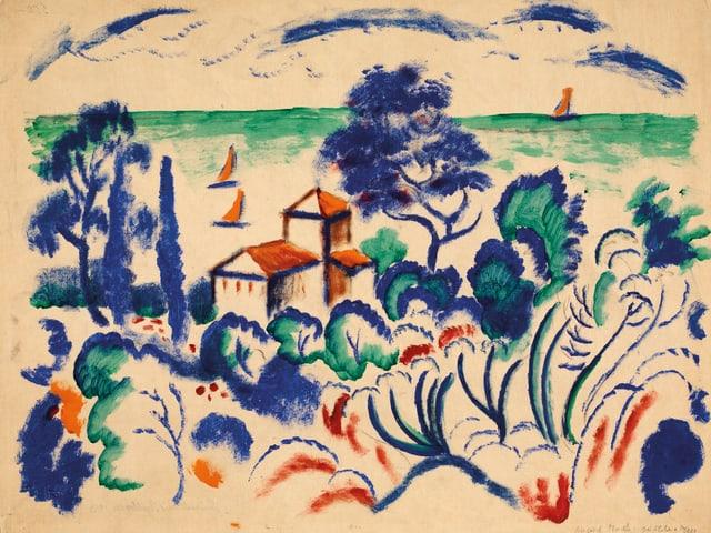 Küstenlandschaft in Blau, Grün und Orange gemalt.