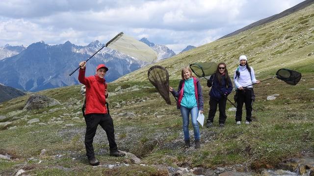 4 perscrutaders èn en viadi cun raits da tschiffar insects amez las muntognas.