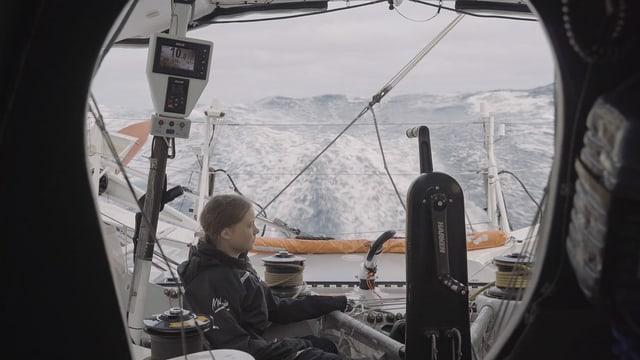 Greta Thunberg auf dem Segelboot, mit dem sie den Atlantik überquerte.