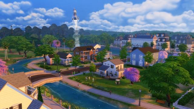 Eine Sims-Nachbarschaft, aus der soeben eine Rakete startet.