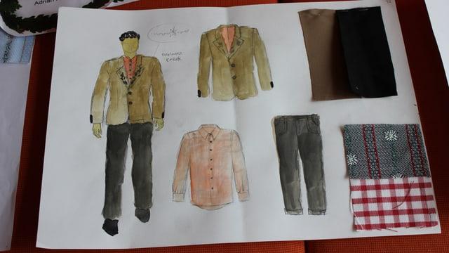 Entwurf des rotweissen Hemds und der hellen Jacke und schwarzen Hosen.