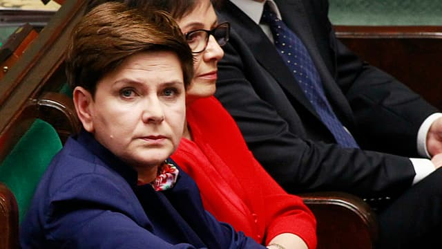 La primministra da la Pologna Beata Szydlo durant la debatta cun l'UE