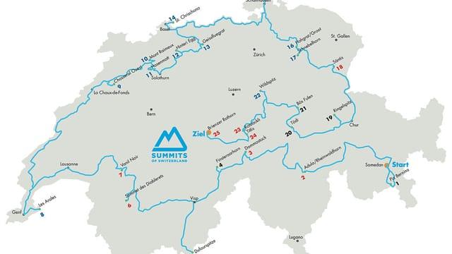Eine Karte der Schweiz mit der Route von Sandro Mirasolo.