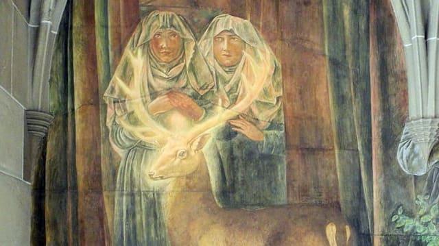 Hildegard und Bertha in einem Fresko.