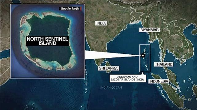 Karte der Andamanen und North Sentinel.