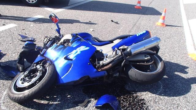 Beschädigtes Motorrad