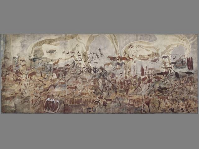 Grosses Gemälde mit zahlreichen kleinen Figuren.