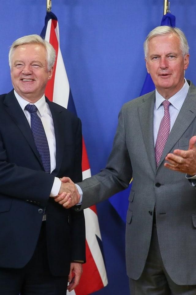 Michel Barnier und David Davis.