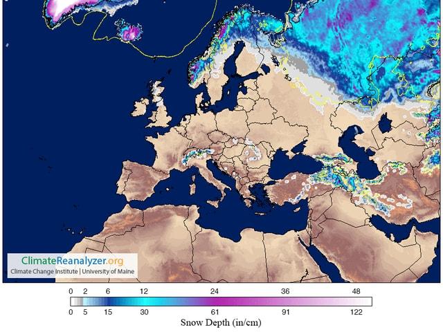 Auf einer Europakarte sind die Nullgradgrenze und die Verteilung von Schnee dargestellt. Von Grönland über Island, Norwegen bis nach Sibirien kann weisse Weihnachten gefeiert werden.