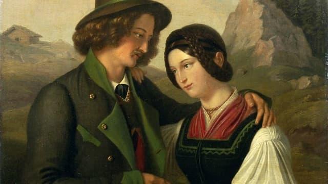 Ein Gemälde von 1840 zeigt ein junges Paar in östereichischer Tracht