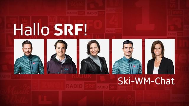 Im Chat (von links): Stefan Hofmänner (TV-Kommentator), Marc Berthod (SRF-Experte Ski alpin), Lukas Studer (TV-Moderator), Susan Schwaller (Chefredaktorin SRF Sport), Natalie Pedrocchi (Projektleiterin Ski-WM 2019).