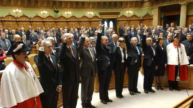 Der Bundesrat nach seiner Wahl beim Gelöbnis