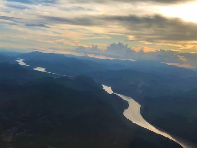 Luftaufnahme des Mekong in Kambodscha.