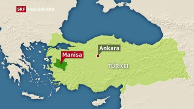 Karte der Türkei mit der Proviz Manisa im Westen.