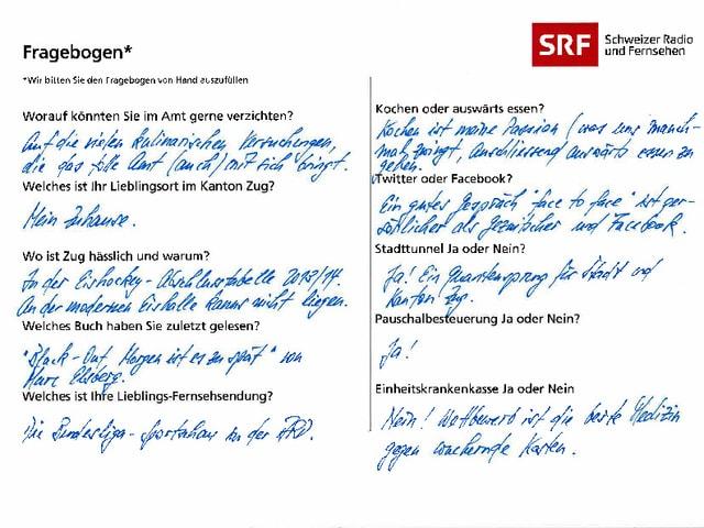 Der von Heinz Tännler ausgefüllte Fragebogen.