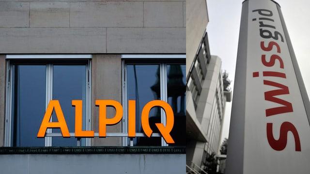Firmenschilder Alpiq und Swissgrid