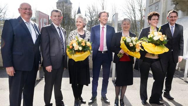 Die sieben frisch gewählten Regierungsräte.