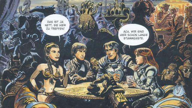 Prinzessin Leia und Luke Skywalker begegnen in einer Zeichnung Valerian und Veronique.
