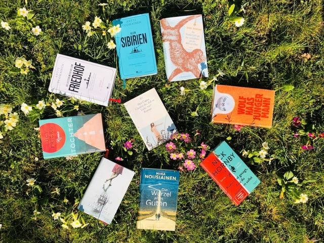 9 Feel-Good-Romane liegen im Gras