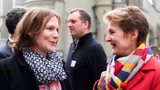 Die beiden nach der Bekanntgabe der Berner Wahlresultate am 25. März 2018