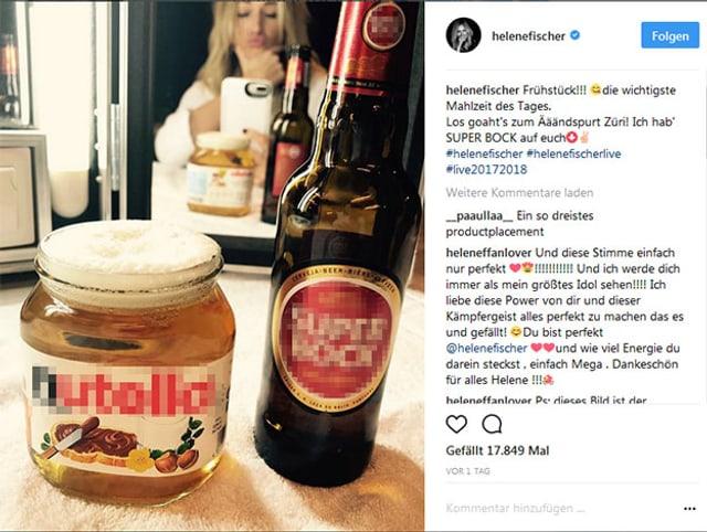 Helene Fischer trinkt ein Bier zum Frühstück