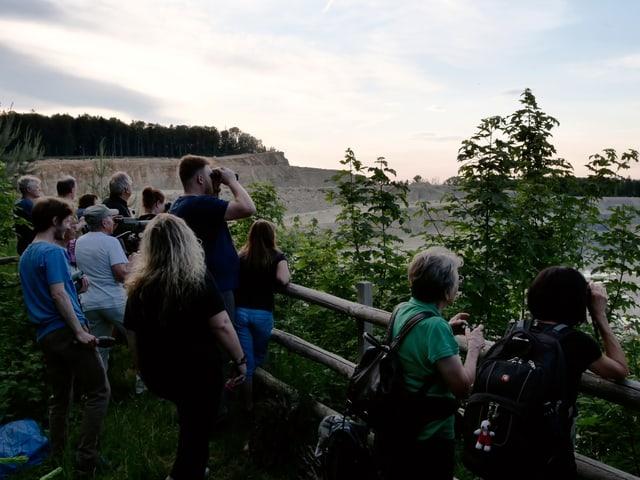 Personen mit Feldstecher schauen in einen Steinbruch.