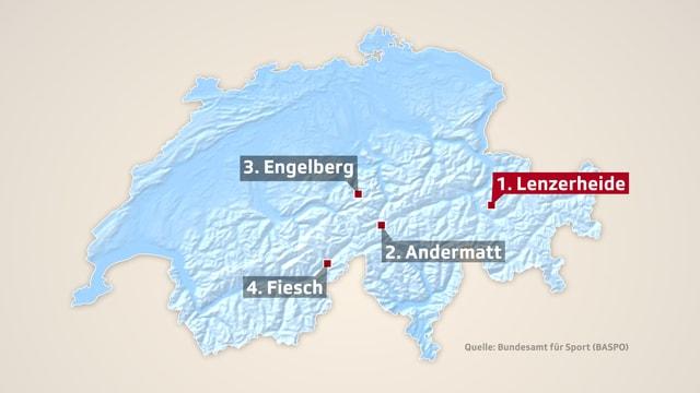 Karte Schweiz mit Dahinter landeten S-chanf GR, Engelberg OW, Fiesch VS und Davos GR.