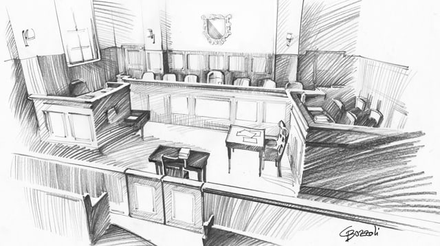 Zeichnung eines Gerichtssaals