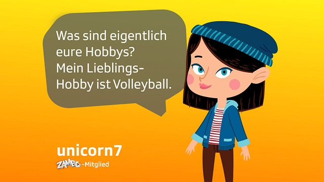 Der Avatar von Zambomitglied unicorn7 fragt im Treff: Was sind eure Hobbys? Mein Lieblingshobby ist Volleyball.