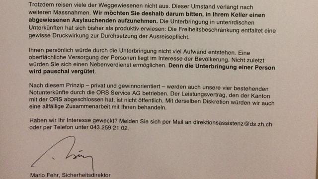 Ein Schreiben mit der - gefälschten - Unterschrift von Sicherheitsdirektor Mario Fehr.