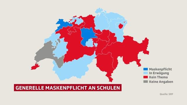 Schweizer Karte mit Kantonen